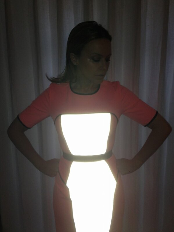 Kylie Minogue showed off her glow-in-the-dark dress on Twitter.  Source: Twitter user KylieMinogue