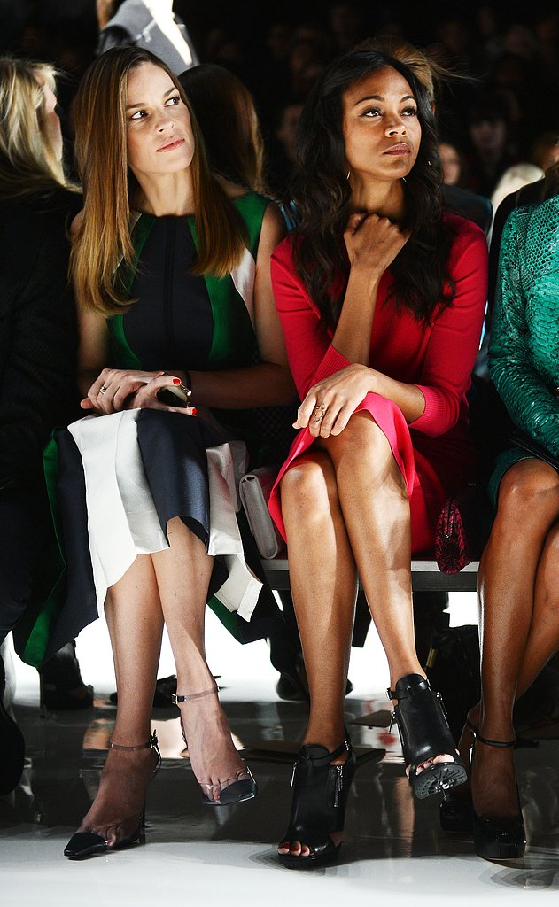 Hilary Swank took in the Michael Kors show in a front-row seat next to Zoe Saldana.