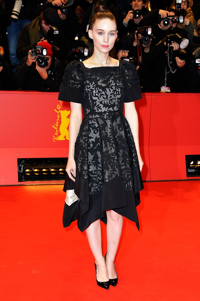 Rooney Mara stuck to her favorite color, black, in a detailed Valentino Couture dress with asymmetrical hemline at the Berlin premiere of Side Effects.