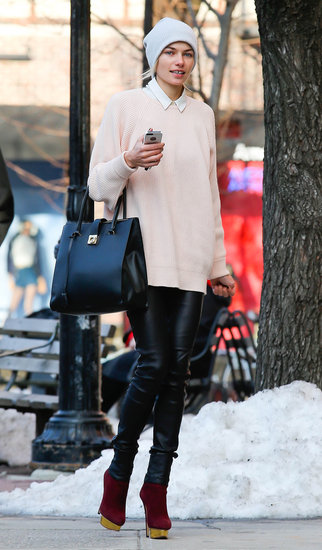 Jessica Hart modeled the perfect weekend ensemble: slick leather pants, oxblood Charlotte Olympia booties, and a gray beanie while strolling around NYC.