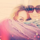 Lauren Conrad gave a glimpse of her cat-eye liner while cuddling with Kristin Ess. Source: Instagram user laurenconrad