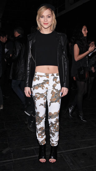 Leigh Lezark worked three bold trends — crop top, printed pants, and slouchy black beanie — during New York Fashion Week.