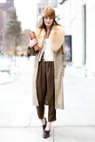 A fur collar and coordinating hat took this trousers-and-cardigan set to a much warmer — and chicer! — place.