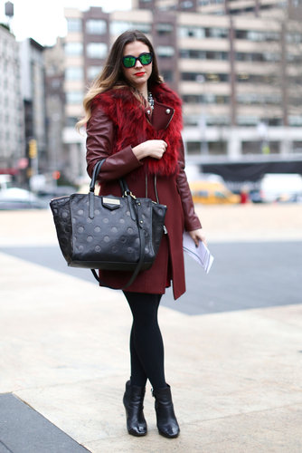 Mirrored shades had a very cool effect when paired opposite this burgundy Zara coat.