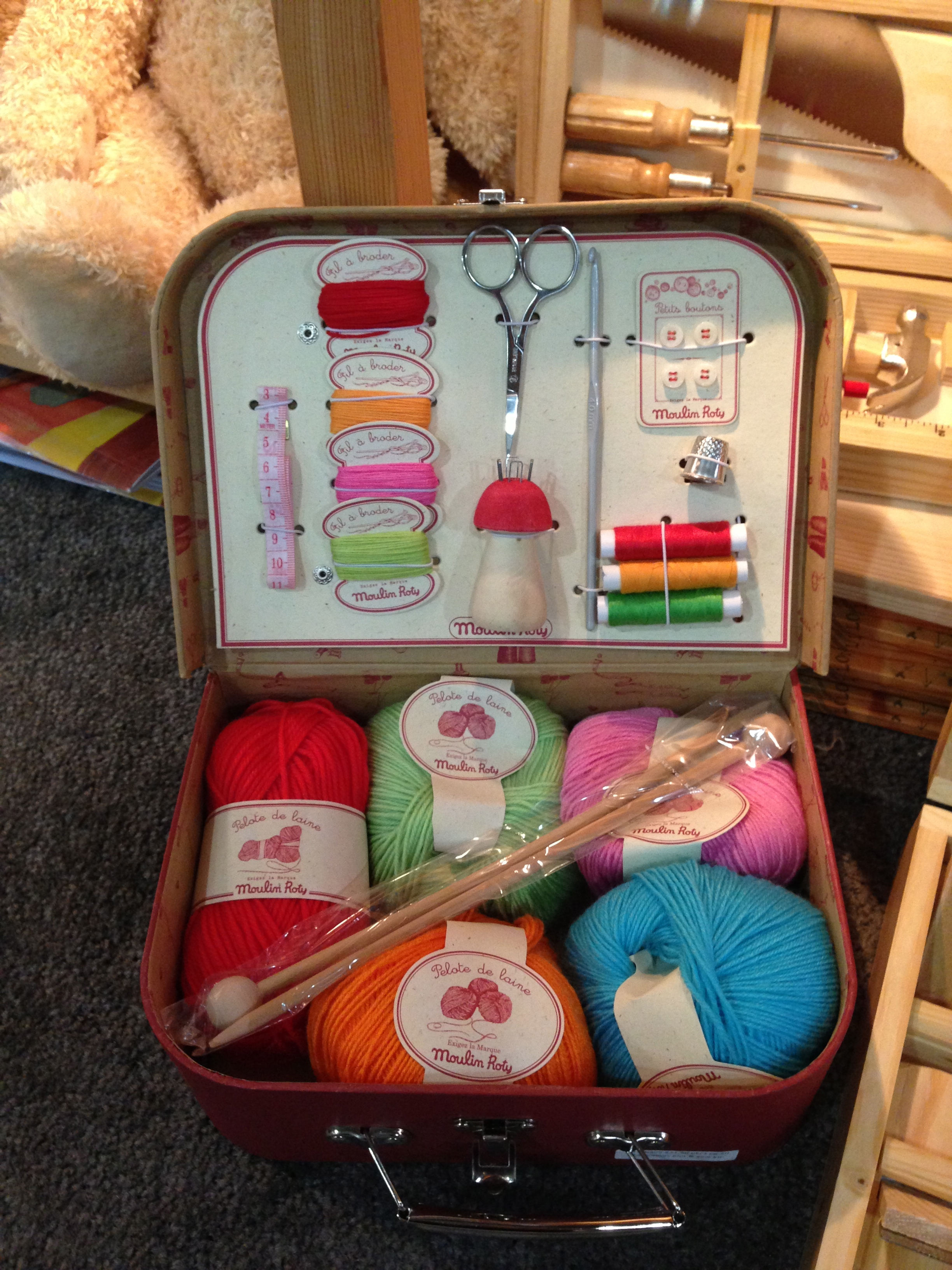 A real knitting set for your crafty tot from French brand Moulin Roty.