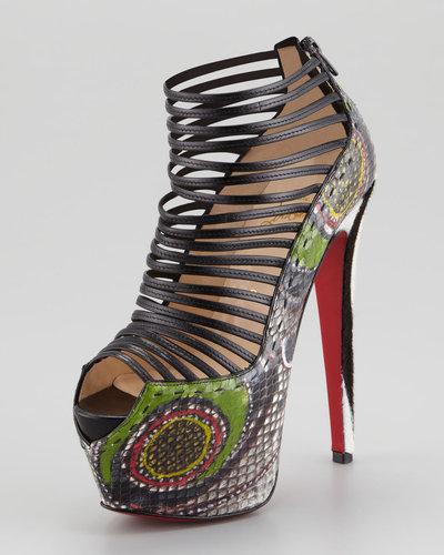 Christian Louboutin Zoulou Python Strappy Platform Red Sole Sandal