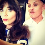 Zooey Deschanel posed with her stylist during a photo shoot. Source: Instagram user zooeydeschanel