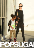 Angelina Jolie held Zahara Jolie-Pitt's hand for a shopping trip in LA.