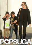 Angelina Jolie took daughter Zahara Jolie-Pitt and son Pax Jolie-Pitt shopping in LA.