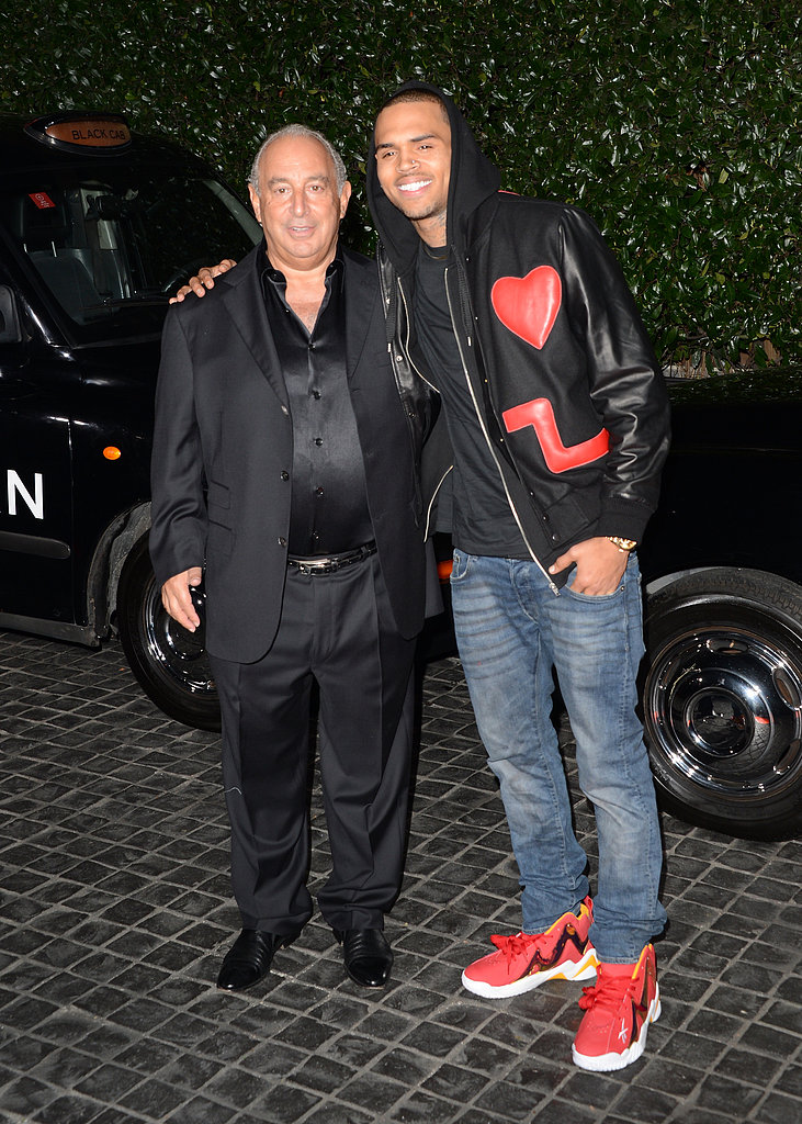 Chris Brown posed with Topshop CEO Sir Philip Green.