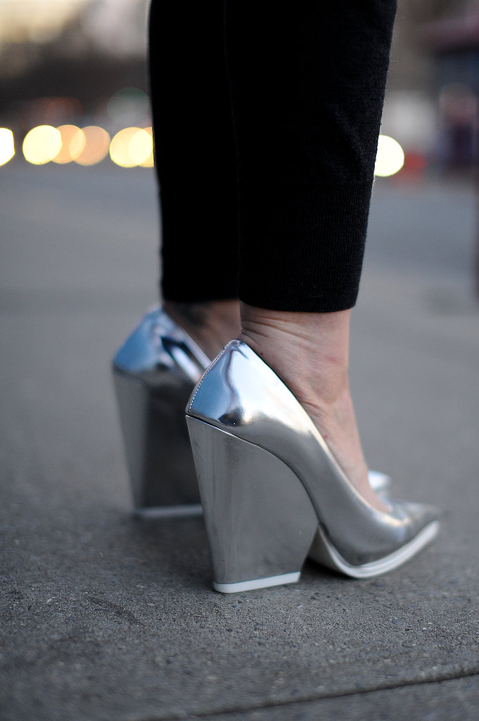 Metallic Céline heels that'll look as fresh come Spring as they do now against black trousers.