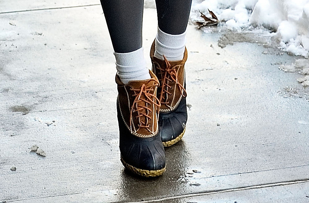 Mary Kate Steinmiller's heels offered a sophisticated spin on the classic duck boot.