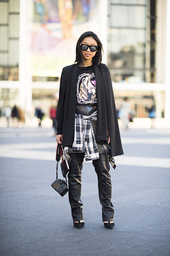 Glam-rock leather meets punk-perfect plaid. Source: Le 21ème | Adam Katz Sinding