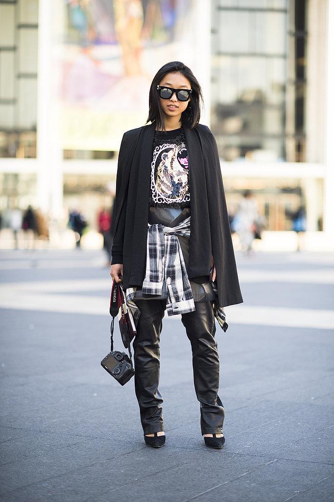 Glam-rock leather meets punk-perfect plaid. Source: Le 21ème | Adam Katz Sinding