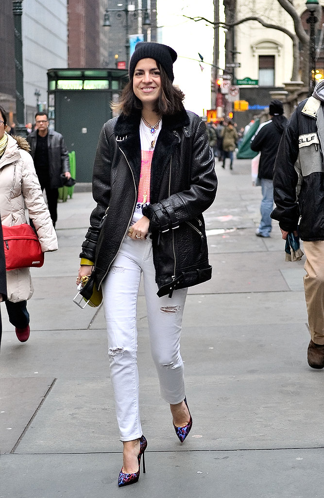 Leandra Medine gave her jeans and heels a touch of the '90s with a beanie and grunge-perfect outerwear.