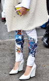 Right on trend for Spring, this showgoer showed off hot white pumps outside the Yigal Azrouël show.