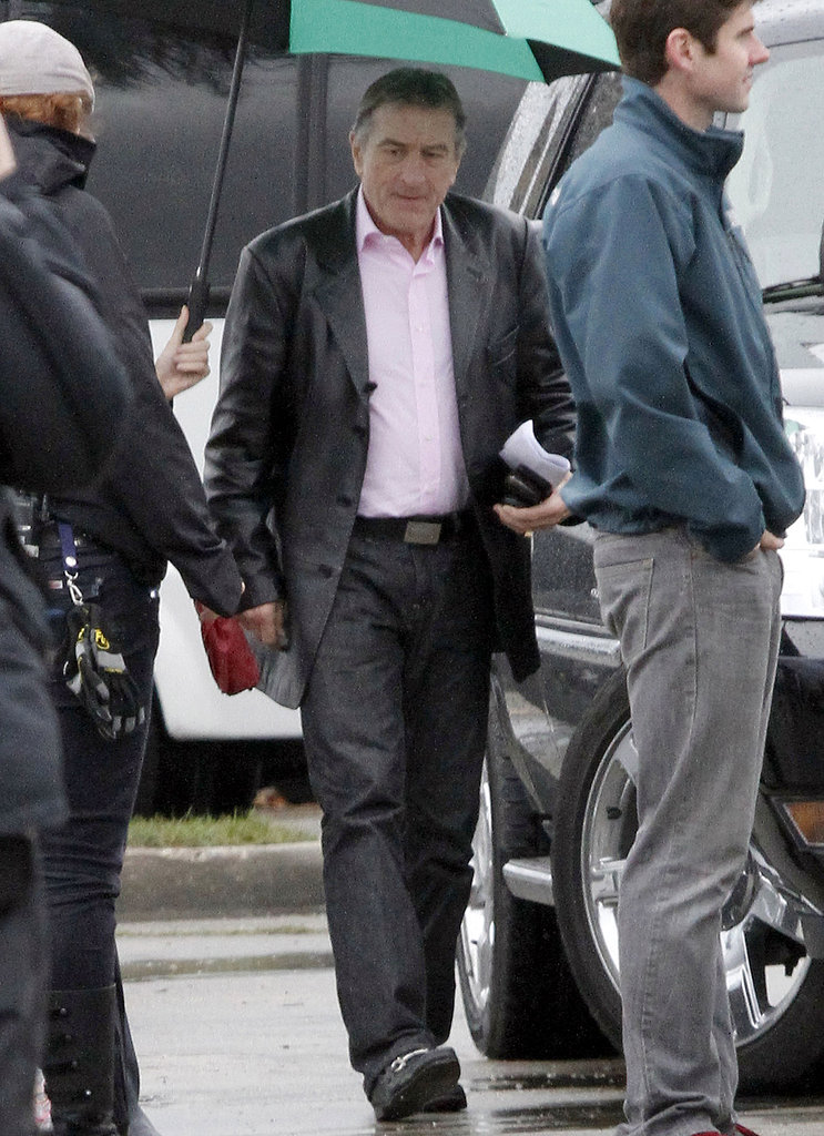 Robert De Niro braved the rain on the set of Grudge Match Monday in New Orleans.