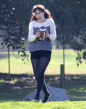 Zooey Deschanel filmed a football scene for New Girl in LA Monday.