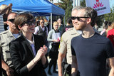 Anne Hathaway brought Adam Shulman along for the One Billion Rising event in LA.