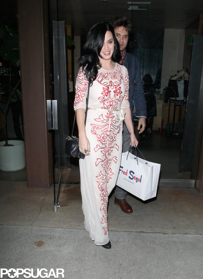Katy Perry wore a red and white gown for a Valentine's dinner with John Mayer.