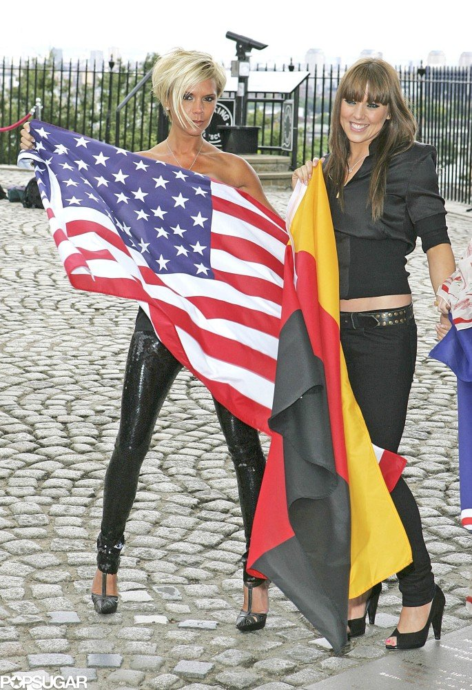 "British Victoria Beckham showed her American pride in London in June 2007 next to Melanie ""Mel C"" Chisholm, who carried the German flag."
