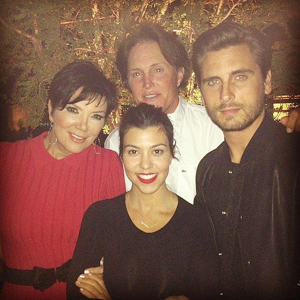 Kourtney Kardashian and Scott Disick ran into Kris and Bruce Jenner during Valentine's Day dinner. Source: Instagram user kourtneykardash