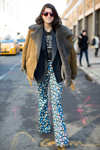 Leandra Medine gave her statement trousers a cozy fiinish with a luxe shearling and suede jacket.