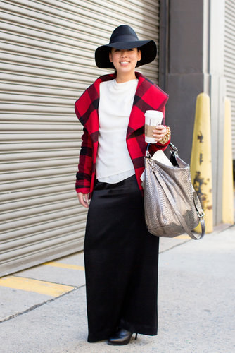 Tartan plaid was a striking contrast against a long black maxi.
