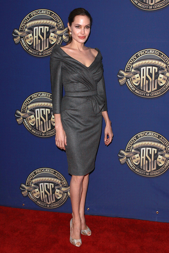 Angelina Jolie attended The American Society of Cinematographers' 27th annual Outstanding Achievement Awards in a sophisticated-meets-sexy Atelier Versace sheath.