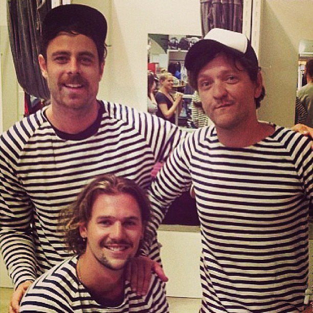 Chris Lilley and his pals matched in stripes. Source: Instagram user chrislilley