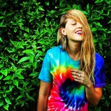 Isabelle Cornish wore a tie-dye shirt on Valentine's Day. Source: Instagram user isabellecornishh