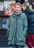 Cameron Diaz kept warm in a green Rag & Bone jacket in NYC.