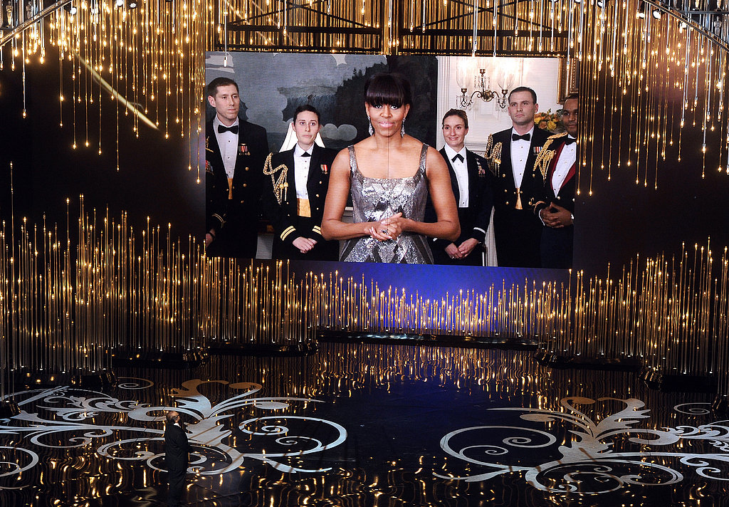Michelle Obama presented at the 2013 Oscars via satellite.