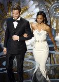 Chris Pine and Zoe Saldana presented an award at the 2013 Oscars.
