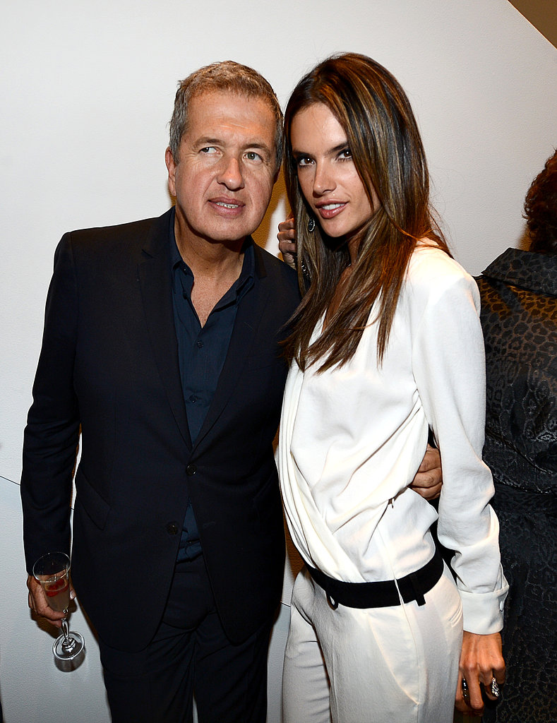 Mario Testino and Alessandra Ambrosio shared a moment at his party.