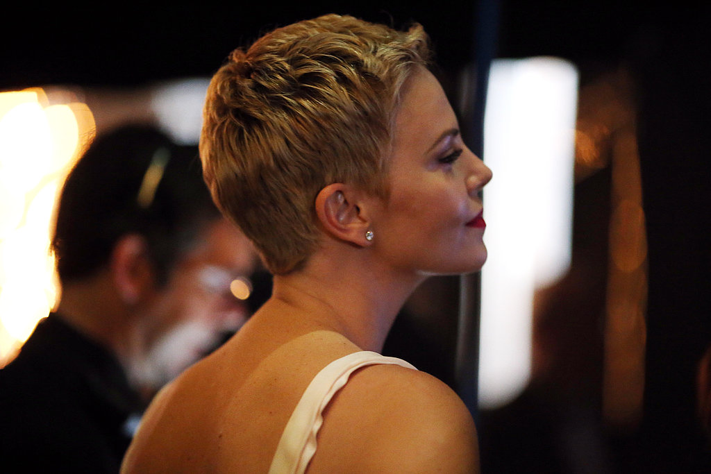 Charlize Theron backstage at the 2013 Oscars.