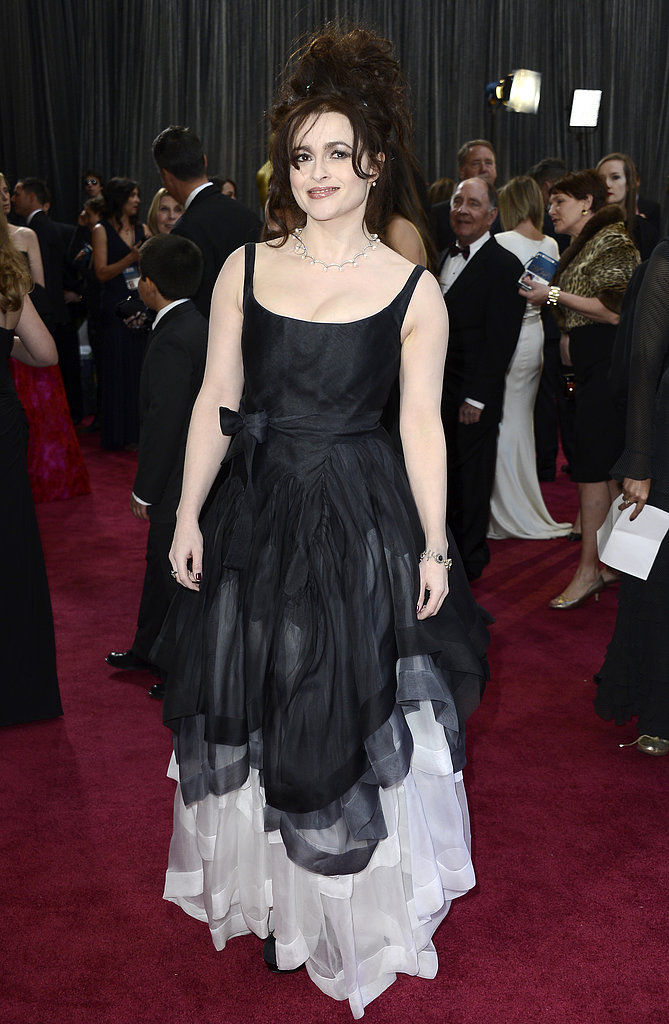 Helena Bonham Carter on the red carpet at the Oscars 2013.