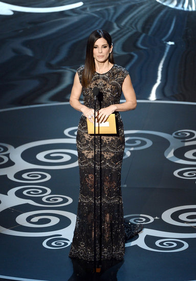 Sandra Bullock Sparkles in Silver at the 2013 Oscars