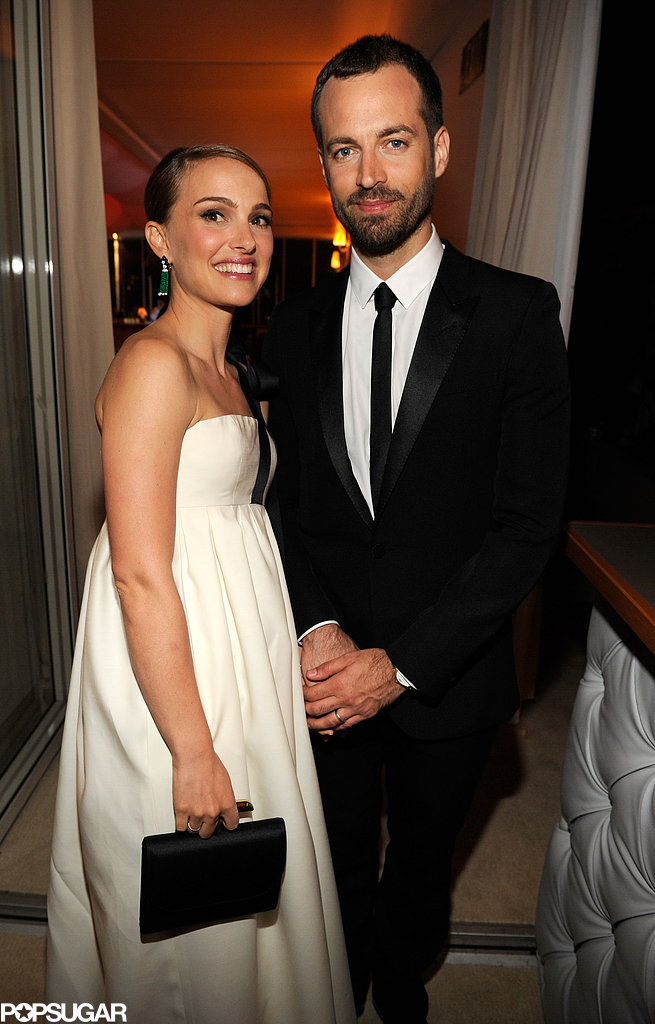 Natalie Portman and Benjamin Millepied looked adorable together at the Vanity Fair Oscar party on Sunday night.