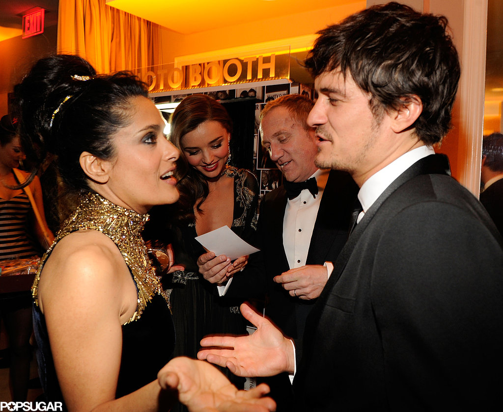 Salma Hayek and Orlando Bloom chatted at the Vanity Fair Oscar party on Sunday night in Hollywood.