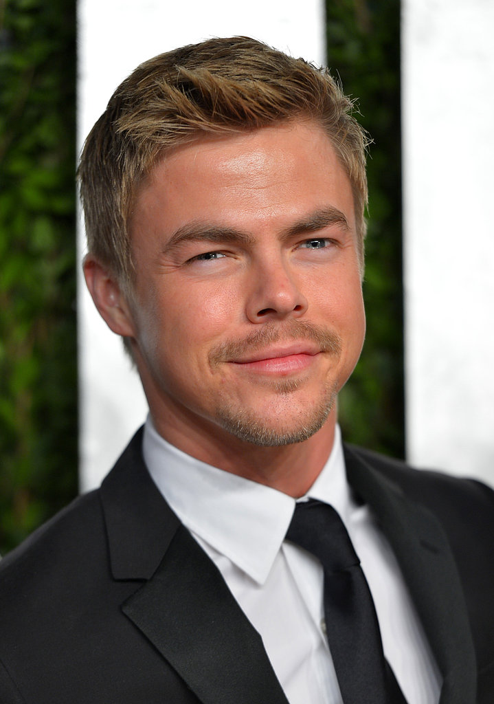 Derek Hough arrived at the Vanity Fair Oscar party on Sunday night.
