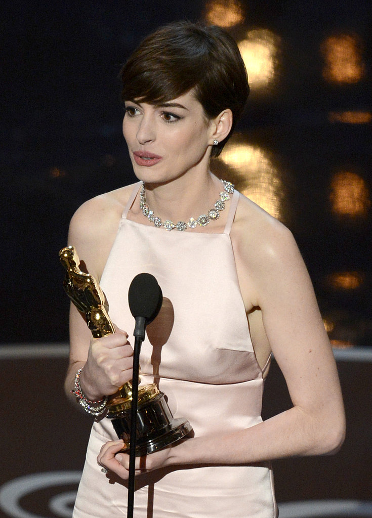 Anne Hathaway on stage at the Oscars 2013.