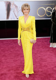 Jane Fonda wore a bright yellow gown to the Oscars.