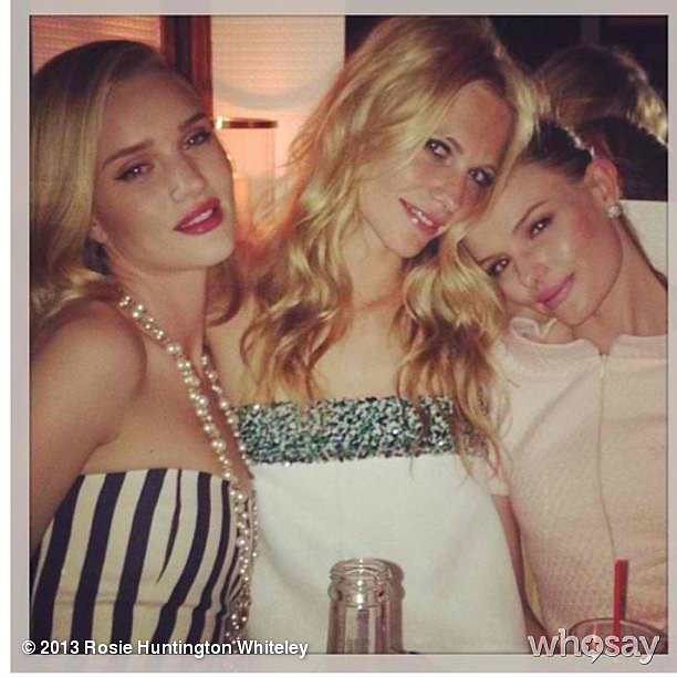 Rosie Huntington-Whiteley partied with Poppy Delevingne and Kate Bosworth during the Chanel pre-Oscars event. Source: Instagram user rosiehw