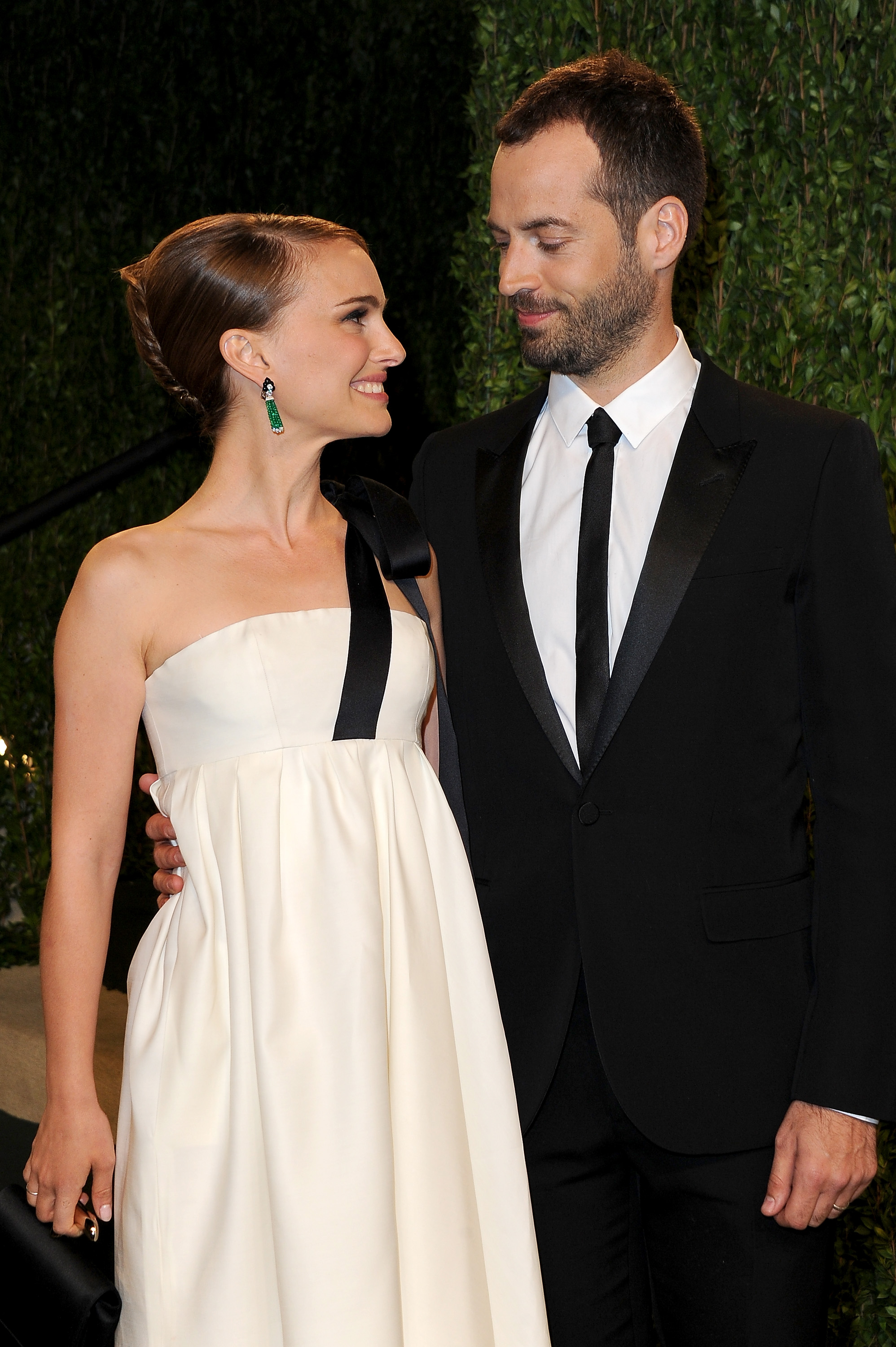 Natalie Portman and Benjamin Millepied arrived at the Vanity Fair Oscar party on Sunday night.
