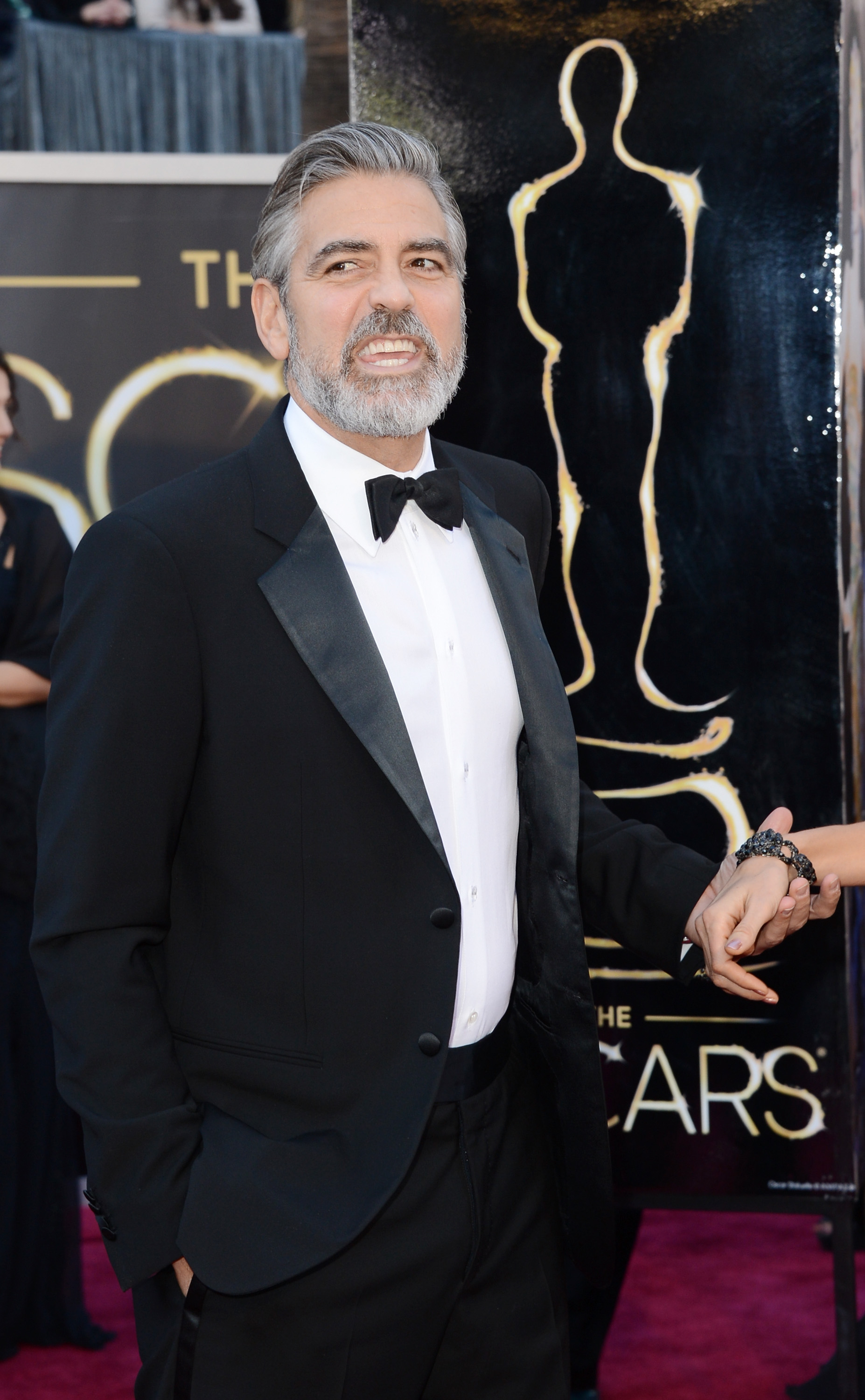 George Clooney on the red carpet at the Oscars 2013.