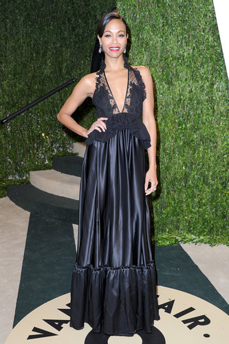 Zoe Saldana arrived at the Vanity Fair Oscar party on Sunday night.