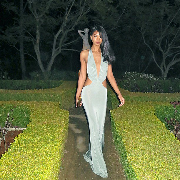Chanel Iman wore a sexy gown for a pre-Oscars fete on Saturday night. Source: Instagram user chanelimanxoxo