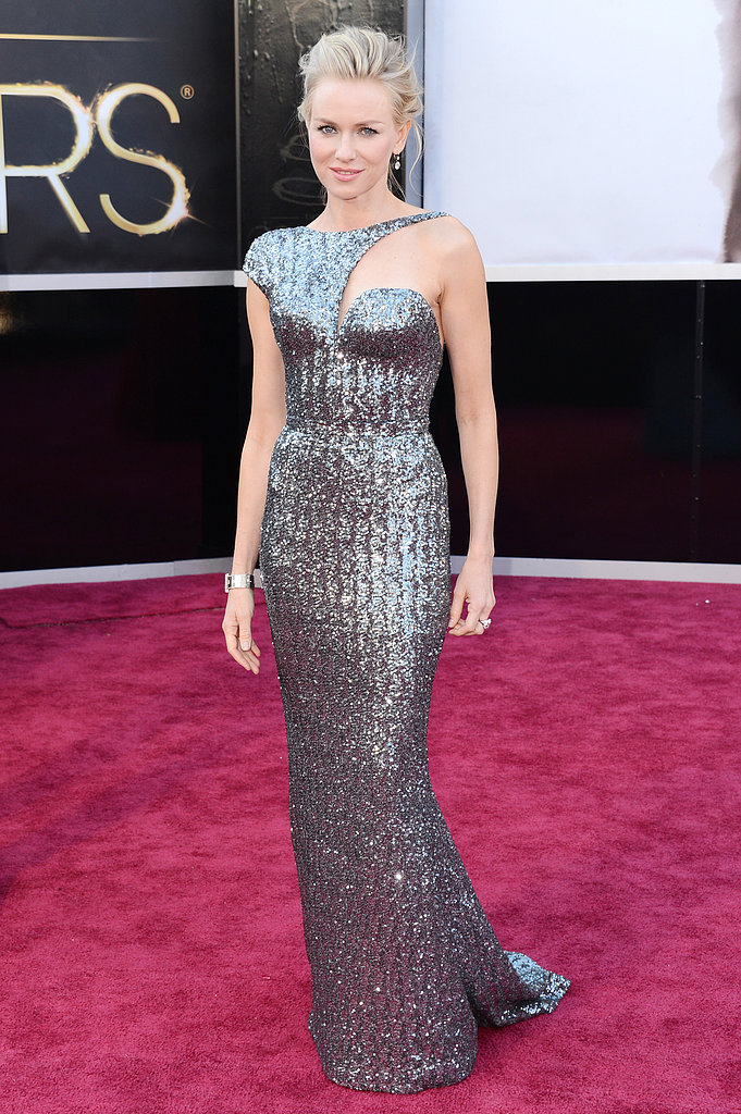 Naomi Watts sparkled in a gun-metal Armani gown on the Oscars red carpet.