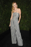 Rosie Huntington-Whiteley stunned in vertical stripes — a black-and-white Spring '13 Chanel jumpsuit to be exact — at the Chanel dinner.